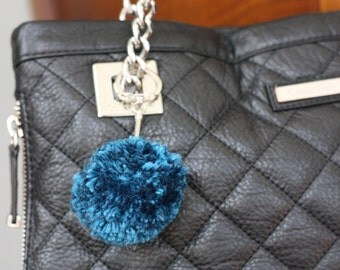 Small Bag Charm, Teal Blue Bag Charm, Small Yarn Pom Pom, Bag Pompom, Purse Charm, Purse Pom Pom, Handbag Accessory, PomPom Keychain Keyring