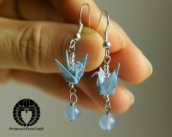 Origami Jewelry, Origami Crane Earrings - Pastel Blue