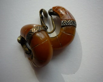 Rare Vintage Natural Amber Brass Hoop Ethnic Tribal Clip On Earrings