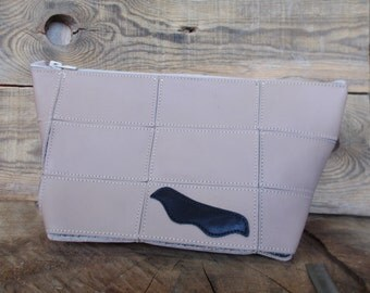 Cosmetic bag, Toiletry case, Leather purse, Mustache, Shaving bag, Travel set, Personalized, Make-up bag, Beige, Dopp kit, Leather pouch