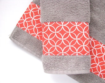 Coral Grey Towels Hand Towels Bath Towels Custom Towels Coral Towels