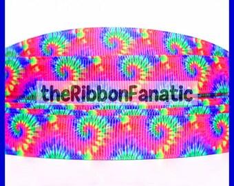 "5 yds 5/8"" Tie Dye Hippie Retro Blue Green Purple Pink Yellow Orange Grosgrain Ribbon"