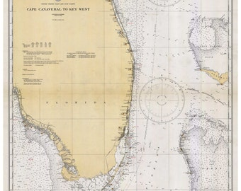 Cape Canaveral to Key West - 1933 Nautical Map Florida Reprint General Chart 1112