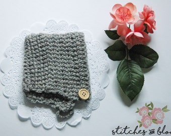Grey Crochet Baby Bonnet