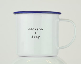 Have One of Our Blank Enamel Mugs Personally Engraved.  Perfect Custom Gift Idea!