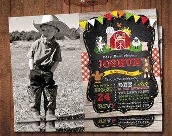 Farm Birthday Invitation Photo. Old McDonald Birthday. Birthday Party Chalkboard . DIY card. Digital Printable card.
