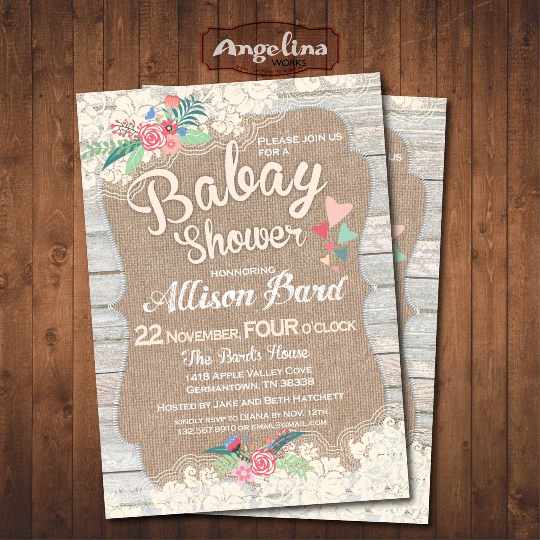 burlap lace baby shower invitation diy digital card
