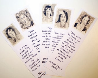 Authors bookmarks set women Carol Oates Virginia Woolf Carson McCullers Patricia Highsmith Susan Sontag bookmarks literature Sepia pics