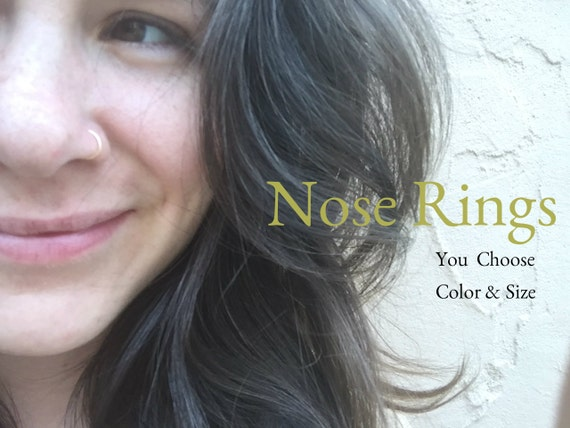 Hoop Nose Ring -Brass Nose Rings - Small Nose Rings - Silver Gold Copper Brass Nose Rings 20G 22G 24G - Body Jewelry