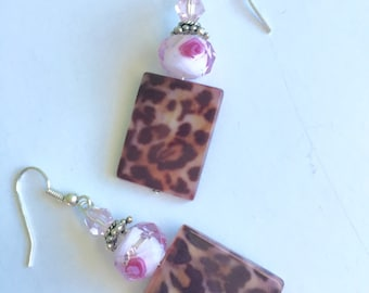 Animal print and pink floral earrings