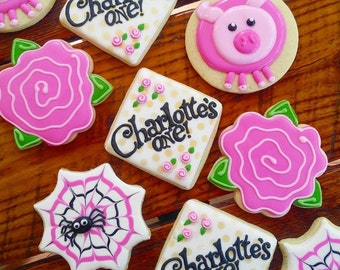 Charlotte's Web decorated cookies