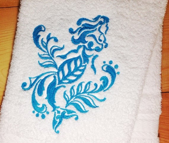 Mermaid Towel Embroidered Damask Mermaid By TwistedStitches13