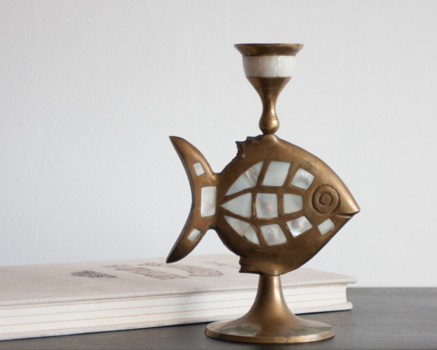 Vintage bronze candle holder candlestick with fish