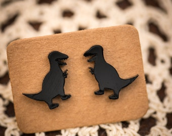 T-Rex Dinosaur Earrings. Black or Green Acrylic Studs on Surgical Steel Posts.