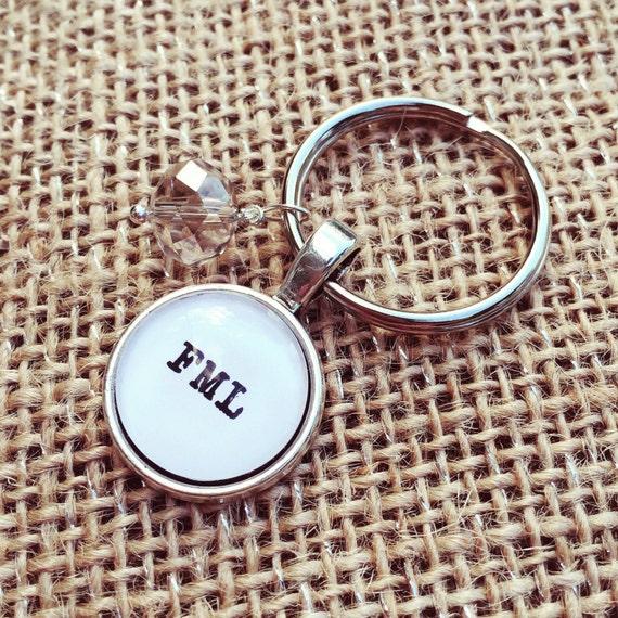 FREE SHIPPING - FML Necklace Keyring - fml acronym Keyring Keychain - Quote Necklace - Jewerly