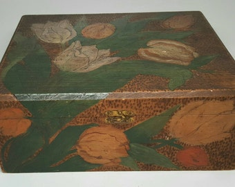 Antique Pyrography Wood Burned Box- Flemish Art Style