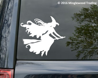 "Witch on Broomstick Vinyl Decal Sticker Witchcraft Halloween Wicca - 5"" x 4.5"" *Free Shipping*"
