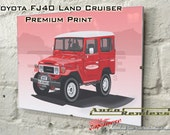 Toyota FJ40 Land Cruiser Personalised Premium Signed Prints 12x8(A4) to 45x30(A0) Classic Cars Custom Illustration Colour & Registration