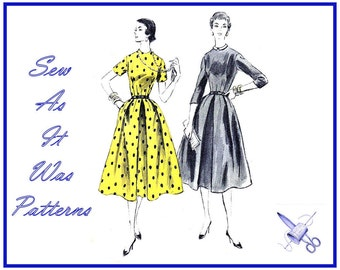 "1950s Unused FF Vogue 8516 Flared Dress Dart Fitted Bodice High Neckline Sleeves Collar Vintage Sewing Pattern Size 14 Bust 32"" 83cm"