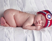 SUPERHERO Baby Hat Superman-Batman-Captain America Shower Gift Crochet Hat Photo Props Bringing home baby boy Preemie to Toddler Novelty hat