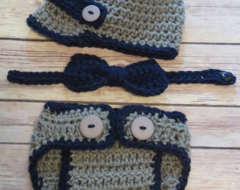 Little Mister Newsboy Crochet hat, bowtie, d.cover, Grey and Navy, bringing home baby, shower gift, photo prop, Preemie, Newborn up to 12 mo