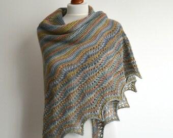 Lace shawl - hand knitted multicolored shawl - triangular - wool - handmade