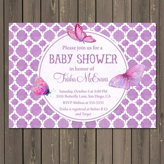 Butterfly Baby Shower Invites: Butterfly Baby Shower Invitation Purple Butterfly Shower