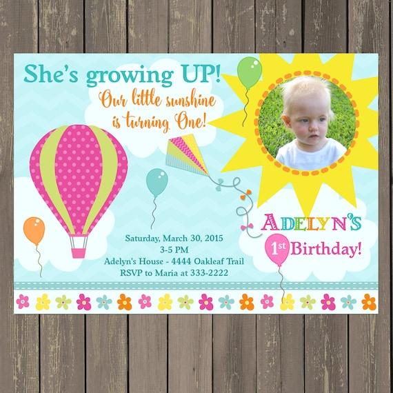 Growing up birthday invitation hot air balloon kite sunshine il570xn filmwisefo Choice Image