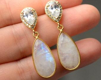White Moonstone earrings - June Birthstone earrings necklace set - Gemstone moonstone -  Bezel Set moonstone , moonstone bridal jewelry set