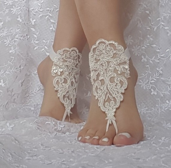 Free ship ivory Beach wedding barefoot sandals