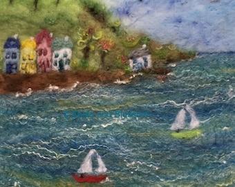 Seaside,Landscape,Sea,Boats,Sailing,Nautical,Village,Picture,Felt,Art,Wool,Countryside,Nature,Coast,Seaside Landscape,Holiday