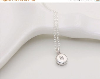 ON SALE Sterling silver hand stamped round drop initial  - sterling silver circle necklace - Personalized Jewelry
