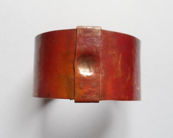 Bracelet hammered red copper