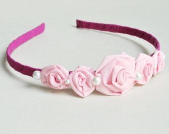 Flowers baby headband/ pink/ wedding/ roses hairband/ handmade/ baby girls/ hair accessories/ ceremony/ bridesmaid