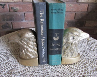 Vintage Brass American Bald Eagle Bookends.