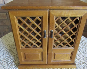 Sale-Vintage Large Wooden Jewelry Box with Lattice Doors.