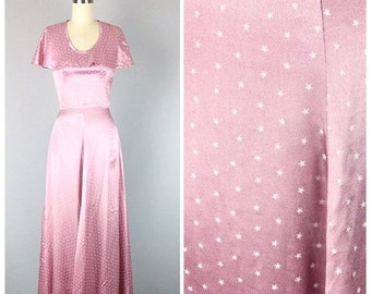 V-DAY SALE /// 40s Pink Silk Maxi Dress With Cape - 1940s Star Print Bias Cut Prom Dress / Evening Gown - Small - Size 2