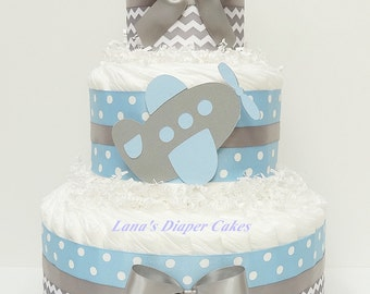 3 Tier Blue And Gray Airplane Diaper Cake, Boy Baby Shower, Airplane Diaper Cake, Airplane Shower Decor, Transportation Baby Shower