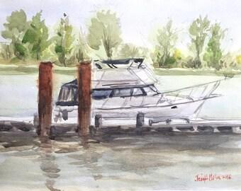 Boat at Steveston BC, Canada,Private Boat, Watercolors Paintings Original, Watercolor painting, sea lovers gift, ocean wall art, sea, marine