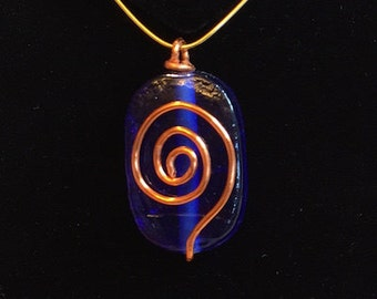 Pendant - Blue Foil Glass and Copper Wire Wrapped Pendant - FREE SHIPPING