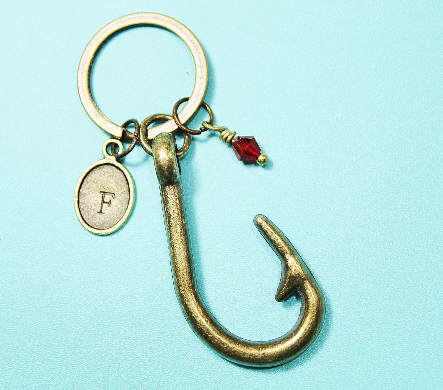 Nautical keychain fish hook keychain engagement by for Fish hook keychain