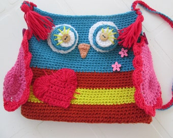 Crochet Cotton Girls Bag. Owl Bag. Owl Purse. Ready to Ship.