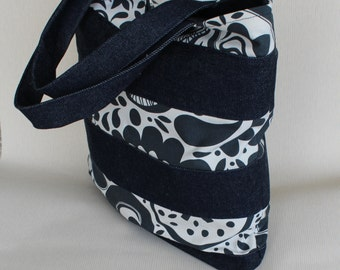 Tote bag, denim canvas tote bag, shopper bag, large blue bag, hessian handles, roomy tote bag