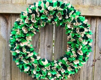 St. Patrick's Day Wreath, Rag Wreath, Irish Wreath, Spring Wreath, St Patty's Decor