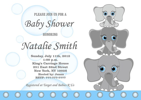 baby shower invitations that can be edited boy baby shower invitations elephant baby shower invitation 13550