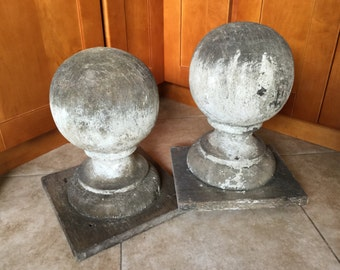 Huge Antique Architectural Salvage Ball Post Finials, pair