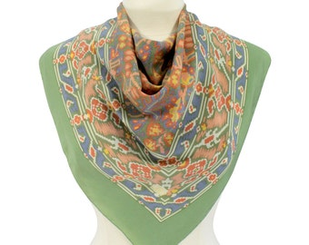 "Liberty of London Vintage 1980s Liberty Scarf Southwest Boho Scarf Foulard Silk Crepe Bohemian Hippie Rolled Hems 32"" England"