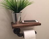 Industrial Toilet Paper holder with shelf, plumbing pipe repurposed industrial decor, bathroom decor, tp holder