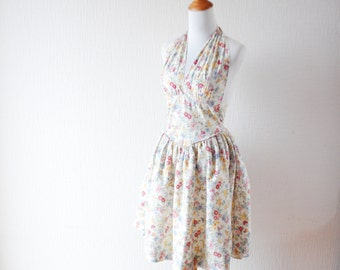 VINTAGE flower print dress ~ Off white cotton dress ~ Tea dress ~  Ivory cotton dress ~ 1950 dress