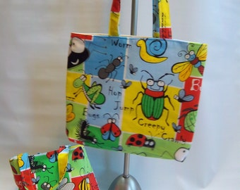 CHILDREN'S TOTES, BUGS, cotton, beach bag, book bag, toy bag, overnight travel bag, canvas lining, primary colors